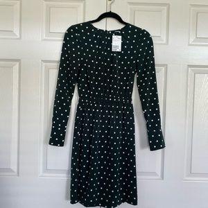 H&M forest green polka dot dress